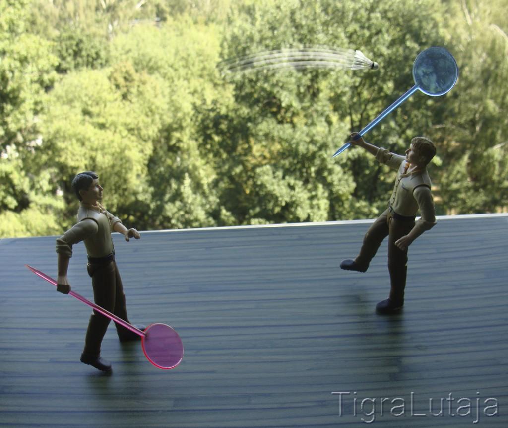 ося и киса играют в бадминтон